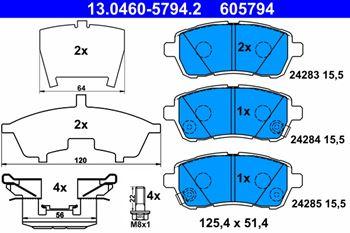Zestaw klocków hamulcowych, hamulce tarczowe ATE 1