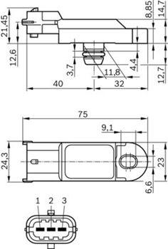 Czujnik, ciśnienie doładowania BOSCH 7