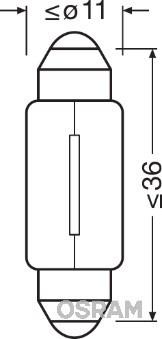 Żarówka, oświetlenie tablicy rejestracyjnej OSRAM 3